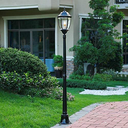 Lámpara de jardín de luz para poste al aire libre Impermeable IP55 Linterna de pilar de vidrio de poste alto Farola de paisaje vintage Lámpara de calle Patio Patio Camino Columna de césped Luz E27