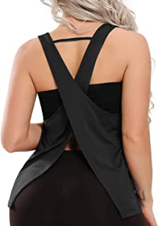 Womens Strappy Open Back Tank Top Sexy Sleeveless Yoga Top Loose Fit Gym Shirt