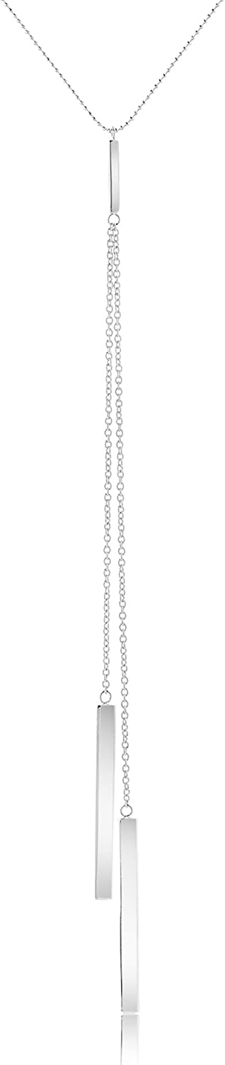 AUBREY LEE Drop Dangle Y Bar Necklace for Women on 30 Inch Bead Chain in Rhodium Plated Brass