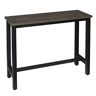 WOLTU BT17srs Table de Bar 120x40x100cm Table Bistrot Table à Manger, Structure en métal et Plateau en MDF Robuste,Noir+Ro...