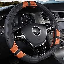 WAXCC Steering Wheel Covers D-shaped steering wheel black car steering wheel cover leather 38CM wheel cover interior accessories car steering cover,Brown,m