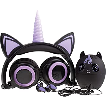 Gabba Goods 3 Piece Gift Set Premium LED Light Up in The Dark Unicorn Over The Ear Earphones Comfort Padded Stereo Headphones AUX Cable | Ear Buds & Bluetooth Stereo Speaker