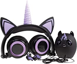 Gabba Goods 3 Piece Gift Set Premium LED Light Up in The Dark Unicorn Over The Ear Earphones Comfort Padded Stereo Headphones AUX Cable   Ear Buds & Bluetooth Stereo Speaker