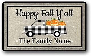 Personalized Family Name Text Happy Fall Yall Funny Cute Autumn Welcome Front Door Mat Truck Pumpkin Decor Doormat Outdoor, Indoor Decor Gift Floor Door Mat Area Rug 18x30 inch