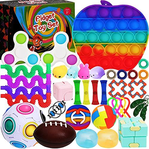 Sensory Fidget Toy Set Box for Kids 38 Pack Including Push pop, Fidget...