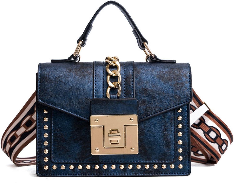 AI BAO Women's Rivets Ribbon Shoulder Bags Retro Small Square Bags Security Lock Hand Bags Satchel