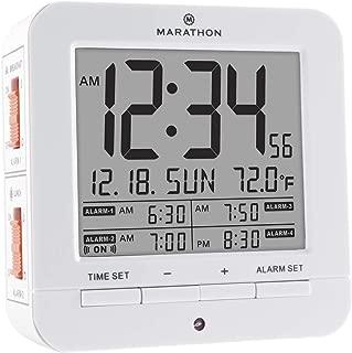 MARATHON CL030075WH Digital Medication Reminder Alarm Clock with 4 Alarms. Batteries Included. Color - White