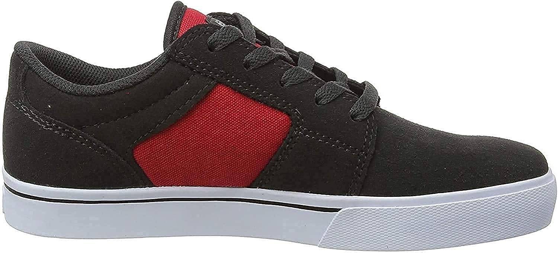Etnies Boy's Barge LS Skate Shoe, Dark Grey/Red, 1.5C Medium US Big Kid