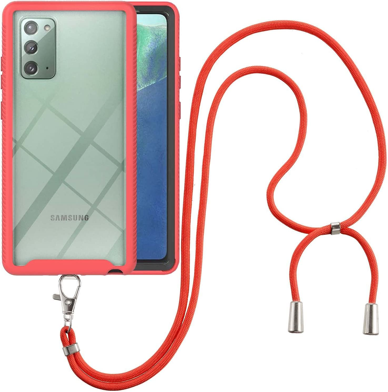 Samsung Note 20 Case, EabHulie Transparent Back No-Slip Bumper with Adjustable Crossbody Lanyard Strap Case, Shockproof Full Body Protection Cover for Samsung Galaxy Note 20 Red