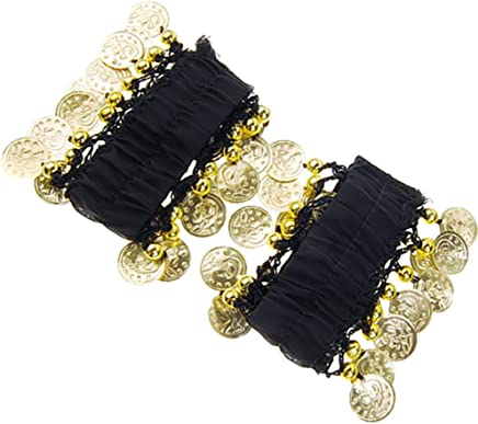 F Fityle Pair Belly Dance Dancing Wrist Ankle Cuff ARM Bracelet with 18 Gold Coins Black