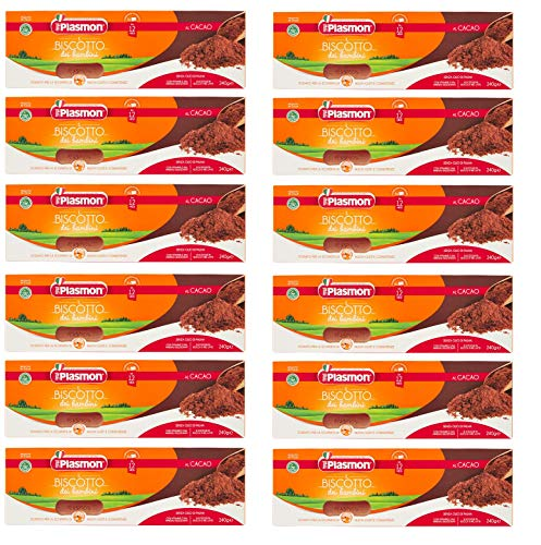 12x Plasmon Il Biscotto dei Bambini al Cacao The Cocoa Children's Biscuit Baby Food Without Palm Oil Biscuits Cookies from 12 Months 240g