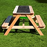 2 in 1 Wooden Large Sand and Water Table & Kids Picnic Play Table Toy Garden Bench Dual Top