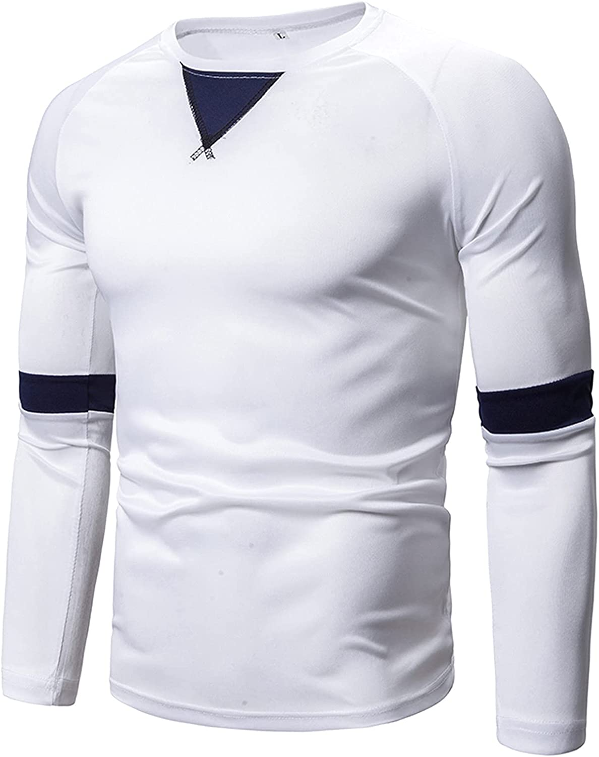 HONGJ Long Sleeve T-shirts for Mens, 2021 New Fall Splice Patchwork Workout Athletics Sports Casual Crewneck Tee Tops