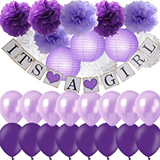Purple Baby Shower Decorations for Girl- IT'S A GIRL Banner Tissue Pom Pom Paper Lanterns with Balloons Set for Lavender Purple Princess Baby Shower Decor Nursery Room Decorarions