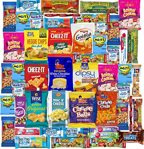 Blue Ribbon Care Package 50 Count Ultimate Sampler Mixed Bars, Cookies, Chips, Candy Snacks Box for Office, Meetings, Schools,Friends & Family, Military,College, Halloween, Christmas Gift Basket