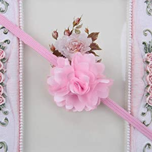 Cfangan economical Vintage Kids Baby Girl Toddler Lace Flower Hair Band Head wear Headband Accessories None Pink