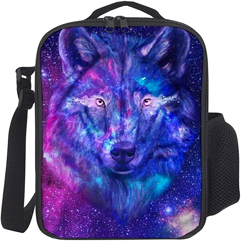 SARA NELL Kids Lunch Backpack Lunch Box Galaxy Wolf Lunch Bag Large Lunch Boxes Cooler Meal Prep Lunch Tote With Shoulder Strap For Boys Girls Teens