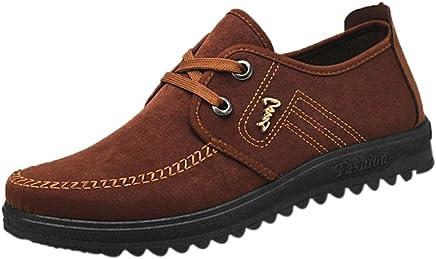 b237f97da3594e Overdose-Chaussures Homme Chaussures Bateau en Daim, Habillées à Lacets  Marron Soldes Casual Flat