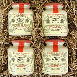 Set of 4 Classic 500 g Pommery Mustard Meaux Moutarde in Pottery Crock in gift box by Pommery