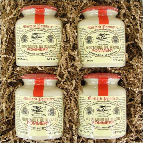 Pommery Set mit 4 klassischen 500 g Pommery Senf Meaux Moutarde im Töpfertopf in Geschenkbox von Pommery