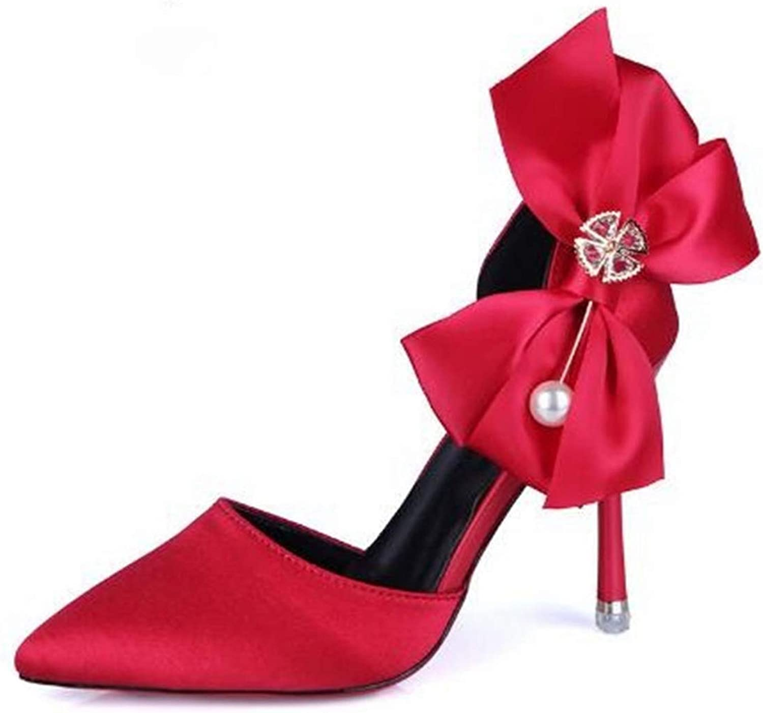 Women Fashion Silk Two-Piece Pumps Super Thin High Heels Carved shoes Woman Bowtie Party shoes