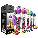 Sharpro 32 oz. Infuser Water Bottles - Featuring a Full Length Infusion Rod, Flip Top Lid, Dual Hand Grips (purple)
