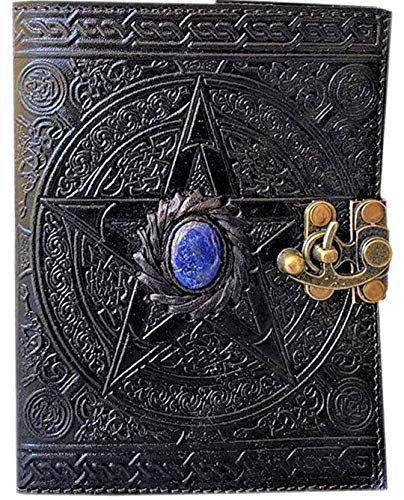 Urban Leather Book – Lapiz Gemstone Studded Celtic Star Embossed Journal for Drawing Sketchbook Scrapbook Writing Notebook Daily Diary, 5x7 inches Unlined