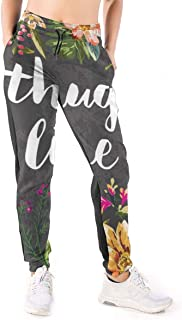 Thug Life Flowers Print Sweatpants Women's Casual Elastic Waist Yoga Jogger Pants