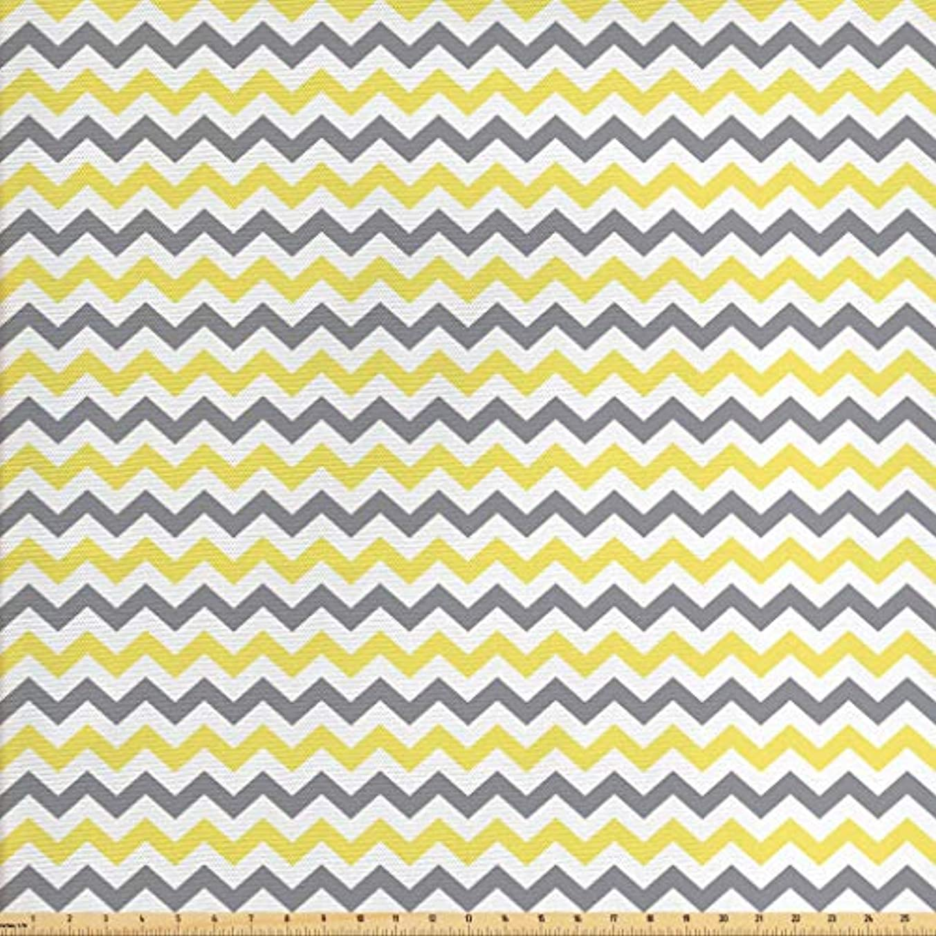Lunarable Geometric Fabric by The Yard, Horizontal Chevron Pattern Zigzag Endless Simplicity Artful Design Print, Decorative Fabric for Upholstery and Home Accents, 2 Yards, Grey Yellow White