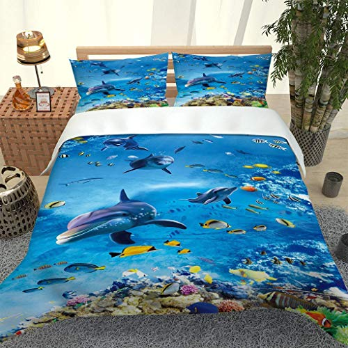 788 DRIVICO Duvet Cover Set. Easy Care And Super Soft Microfiber Design. Dolphins Printed Patterned.Zipper Closure.Anti-Allergic.Bedding Set-Size:200X200 Cm + 2 Matching Pillowcase