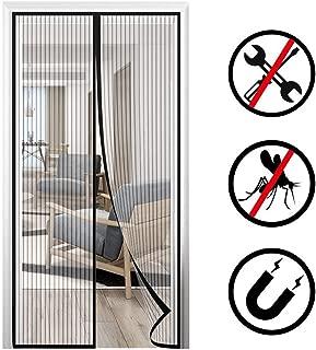 AMENZ Magnetic Screen Door Mesh Curtain, Mosquito Door Screen, Full Size Snap, Mesh Curtain Door Super Quiet Window for Balcony/Interior Doors - Black 100x230cm(39x90inch)