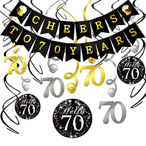 70th Birthday Decorations Kit- Konsait Cheers to 70 Years Banner Swallowtail Bunting Garland Sparkling Celebration 70 Hanging Swirls,Perfect 70 Years Old Party Supplies 70th Anniversary Decorations