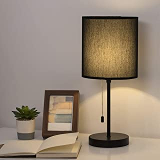 HAITRAL Bedside Table Lamp - Minimalist Modern Nightstand Lamp with Fabric Shade and Pull Chain Switch Stick Lamp for Bedrooms, Living Room, Office, Dorm - Black (HT-TH105-02)