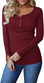 Remikstyt Womens Long Sleeve Henley Shirts Slim Tights Casual High Elasticity Tunic
