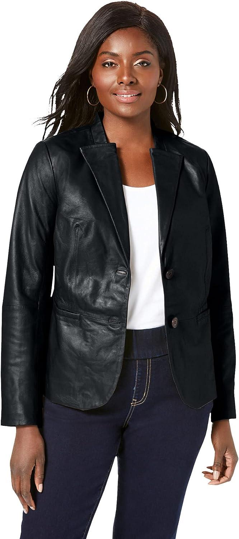 Jessica London Women's Plus Size Peplum Jacket Genuine Leather