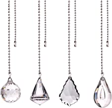 longsheng Clear Crystal Prism Drop Dazzling Crystal Ceiling Fan Pull Chain Pull Chain Extension with Connector for Ceiling...