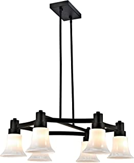 Addington Park 31779 Cartagena Collection 6-Light Modern Chandelier with Glossy White Glass Shades, Dark Bronze Finish
