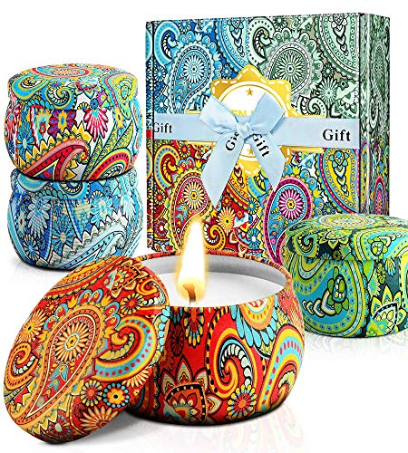 TILLARE Scented Candles, for Women,Candles for Home Scented,Birthday Gifts for Mom,100% Soy Wax Portable Tin Candle Set,Stress Relief and Aromatherapy Candles for Bath Yoga (Paisley)