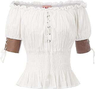 Belle Poque Women's Steampunk Victorian Half Sleeve Boho Off Shoulder Peasant Tops