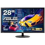 ASUS ゲーミングモニター 28型FPS向き/4K/3840×2160/1ms/TN/HDMI×2/DP/FreeSync/ブルーライト軽減/VESA/3年保証 VP28UQG