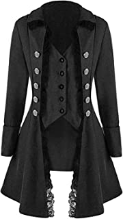VNVNE Women's Gothic Steampunk Corset Halloween Costume Coat Victorian Tailcoat Jacket