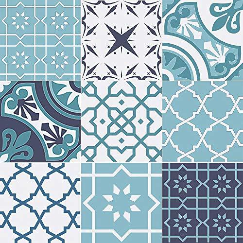 WHATABUS Fliesen/Azulejos je 9,8 x 9,8 cm – 9 Verschiedene Designs – Aufkleber im Set – Sticker (Set mit Designs 1-9, 9)