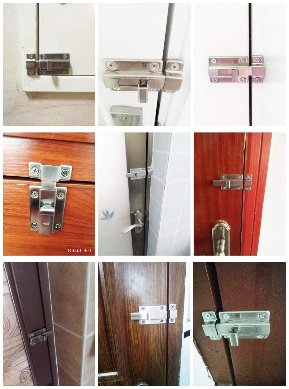 YUOIP® Cerrojo de para puerta corredera de acero inoxidable, cerradura para puerta de baño, ventana, muebles, puerta de mascota (3 pulgadas) (1 pieza)(Tornillos de acero inoxidable 304): Amazon.es: Bricolaje y herramientas