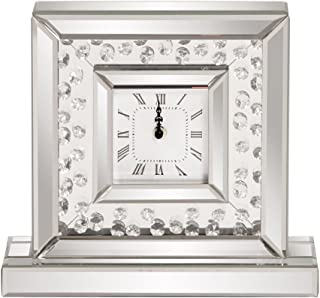 Howard Elliott Mirrored Glass Crystal Accented Clock