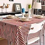 140* 160cm rayas rojo americano retro Instagram mantel algodón lino mesa de comedor Picnic Rectangular cuadrado ecológico cubre