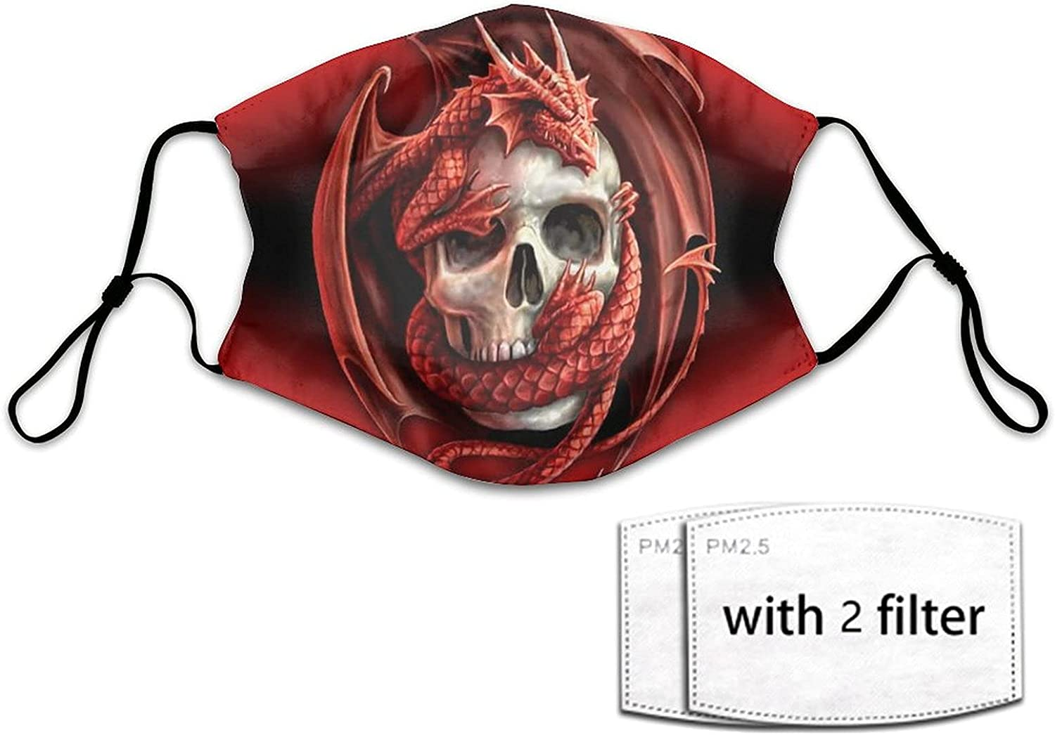 Men Women Adjustable Face Mask Scarf Gaiter with 2 Filters, Dust-Proof Windproof Face Balaclavas (Skull Tattoo Drawstring Tropical Print Nose/Mouth Coverings)