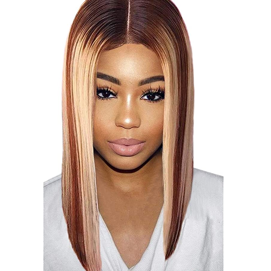 Xiaojmake Lady Ombre Wig Brown to Ash Blonde High Density Heat Resistant Synthetic Hair Weave Full Wigs for Women(Blonde)