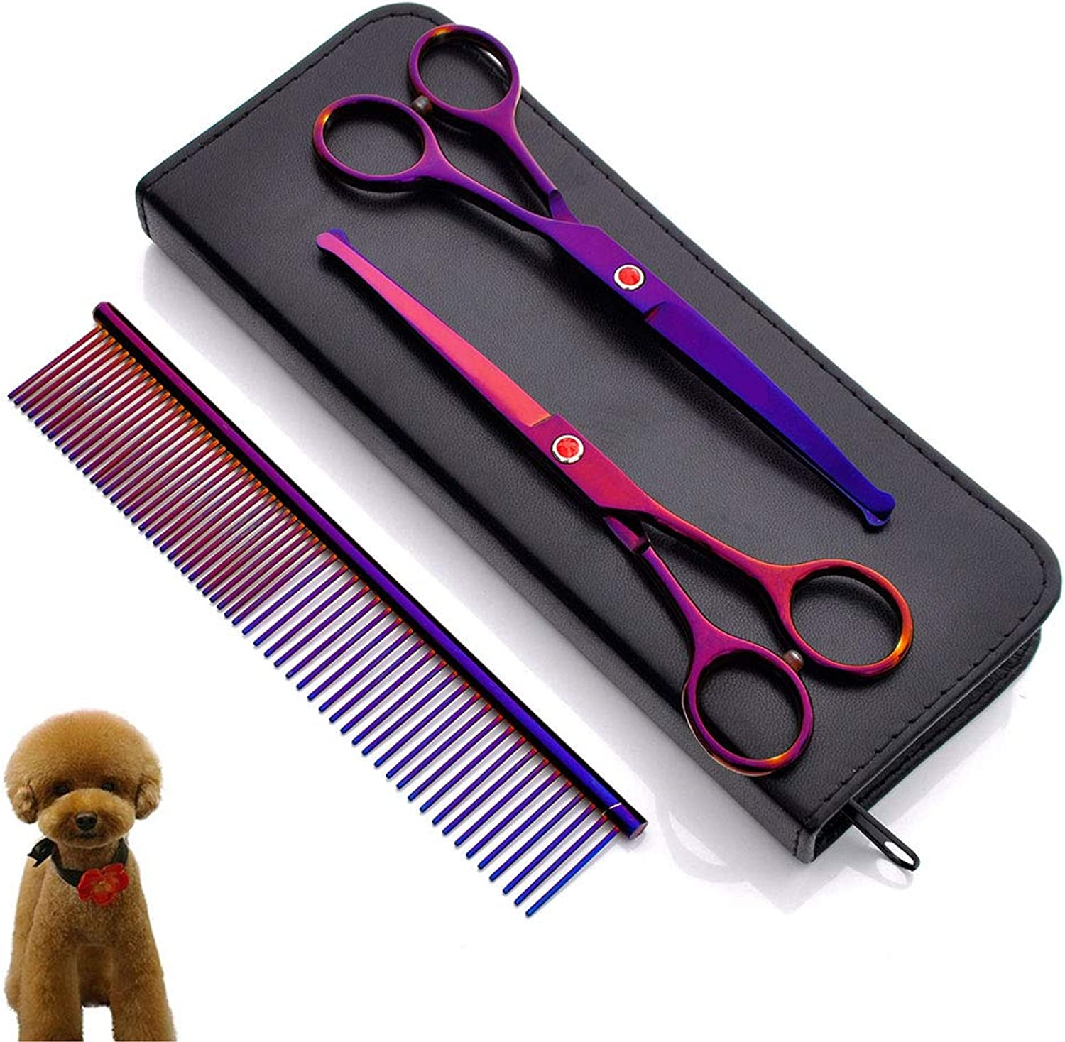 Pet Scissors, Safety Round Head Heavy Duty Stainless Steel Pet Grooming Scissors Set Cat Dog Grooming Scissors Set Suitable for Pet Cat Dog Grooming