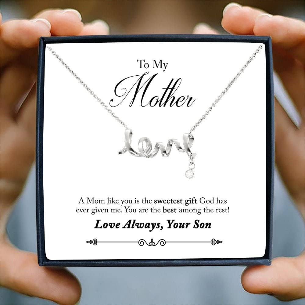 Personalized Necklace Gift - Forever Love Necklace, To My Mother (From Son) Necklace with Message Card, Gift To My Mom, Son to Mom Gift, Mother's Day Necklace From Son, Birthday Gift For Mom