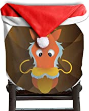 Ladninag Christmas Santa Claus Chair Back Cover Dragon Xmas Red Hat Cat Chairs Slipcovers for Kitchen Dinner Table Party Home Decor Room Holiday Festive 1 Piece